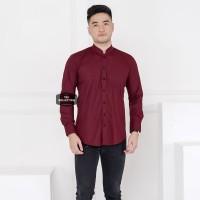 Kemeja Pria Lengan Panjang Polos Merah Maroon Kerah Shanghai 3369