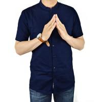Kemeja Lengan Pendek Pria Biru Navy Dark Blue Kerah Shanghai Slimfit