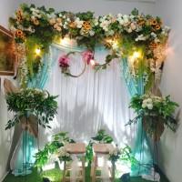 sewa dekorasi backdrop akad nikah/wedding nuansa hijau toska 2 meter