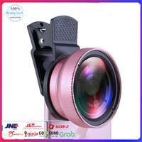 2in1 Professional HD Camera Lens Kit Super Wide Angle12.5X Macro Lens - Merah Muda