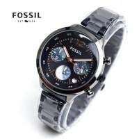 jam tangan wanita chrono full hitam silver tanggal rantai dropship