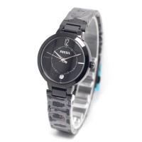 jam tangan wanita bulat polos full hitam dropship