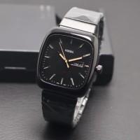 jam tangan pria classic kotak tanggal hari dropship full hitam silver