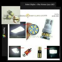 Paket isi 6 Lampu LED Plafon Kabin + Plat Honda Jazz GK5 Super Bright