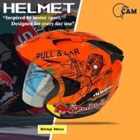 Helm 2 kaca pull & Bear orange Motor SNI Jp-8