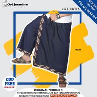 Sarung celana list batik polos jumbo dewasa untuk pria - Biru