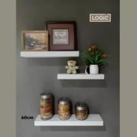Rak Dinding Floating Shelves Set warna Fir 60cm (corak kayu pucat)