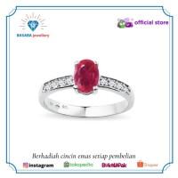 Cincin berlian batu ruby cincin emas 750 original