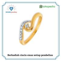 cincin berlian emas 18K berlian eropa original D004