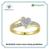 cincin berlian emas 18K berlian eropa original D0095