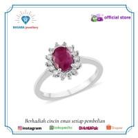 Cincin berlian batu ruby cincin wanita emas 750 original