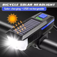 LY17 BICYCLE HEADLAMP SOLAR BELL LAMPU SEPEDA RECHARGEABLE CAS 2 POWER