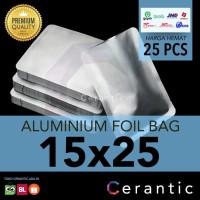 Aluminium Foil 15x25 cm Kemasan Sachet Silver Bubuk Kopi Bumbu Teh