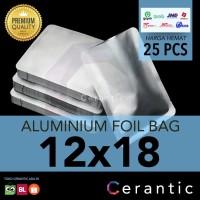Aluminium Foil 12x18 cm Kemasan Sachet Silver Bubuk Kopi Bumbu Teh