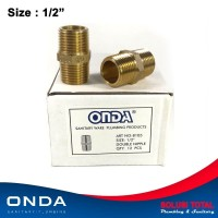 Double Nipple ONDA 1/2 Brass Kuningan Dobel Nepel Nepple valve