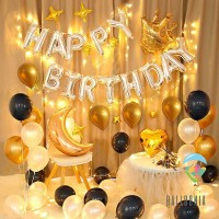LED Set Foil Balloon Birthday Gold Crown | Dekorasi Balon Ulang Tahun