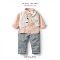 Long Shirt Vest BowTie Kids Set Party Anak Baju Dasi Boy Pesta RAMON - 90