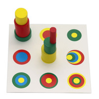 Montessori Knobless Cylinder - Silinder Warna dengan Papan Petunjuk