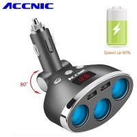 Dual USB Car Charger 2 Port dengan 3 Socket Lighter dan LCD Displ - T3