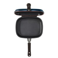 Happy Call Titanium Jumbo Grill Double Pan Blue + FREE 2 pcs Catch Mop
