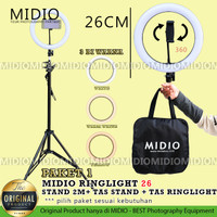 RingLight 26 Midio Plus Stand 2M Streaming Selfie Vlogging Studio Foto