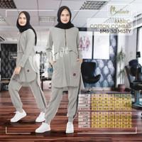 Baju Kaos Olahraga Wanita Muslimah Premium Branded Bahan Katun BMS 30