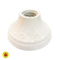 Fitting Plafon Keramik Bulat Motif E27 Ceiling Lamp Holder