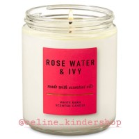 Bath and Body Works Rose Water Ivy Single Wick Candle/ Small Candle