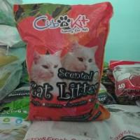 Promo Pasir Cub n kit 10 Liter Paket 3 sak / Pasir Kucing wangi Gumpal