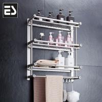 ES Rak kamar mandi rak handuk rak dinding stainless steel 3 tingkat