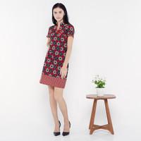 Dress Batik - FBW Cheongsam Batik Dress Couple Imlek Kawung - Merah