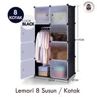 Lemari Plastik Serba Guna 8 Susun portable import black