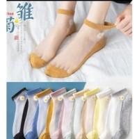 Kaos kaki keKINIAN Transparan Motif Bunga - Putih