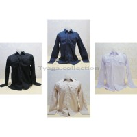 Seragam Kemeja Kantor Polos Lengan Panjang , Baju PNS, Baju Drill, 150 - S, Putih