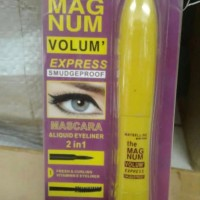 mascara & liquid eyeliner 2in1 maybelline the magnum volum express