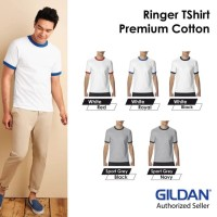 Kaos Polos Gildan Ringer Tshirt Baju Kaos Oblong 76600