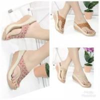 sandal jepit wedges laser motif bordir batik MULAN 1942
