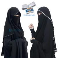 Niqab Butterfly Kancing Original Alsyahra Chiffon Silk Jetblack