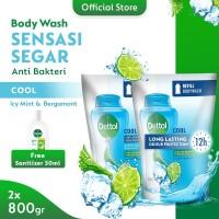 Dettol Bodywash Cool 800gr (2pcs) FREE Sanitizer 50ml