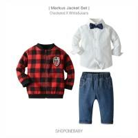 Shirt Jacket Boy Set Party Baju Jaket Jeans Anak Bow Cowo Pesta MARKUS - 70