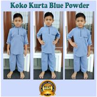 Koko Kurta Anak Terbaru Setelan Atas Bawah 2-10 Tahun - Blue Powder, 2