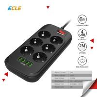 ECLE Power Strip Stop Kontak 6 EU Socket 4 Smart USB Port Fast Charge