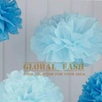 Pompom biru / pompom kertas 20 cm / tissue paper / pompom paper