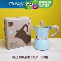 Gnali & Zani Mokapot 3 cup 150ml Biru - Moka Pot Italy Espresso Maker