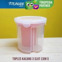 Toples Makanan 3 Slot Wadah Jar 3 Sisi Kotak Kopi Gula Teh Canister