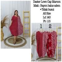 Daster/Longdress Kelelawar Jumbo Batik Cap Warna Merah Kombinasi Putih