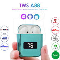 TWS A88 Headset Earphone Mini Wireless Bluetooth Airpods TWS Metal - Blue