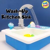Mainan Wash Up Kitchen Sink Biru Wastafel Besar Bisa Keluar Air