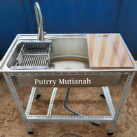 set portable kitchen sink uk 86 x 48cm wastafel cuci piring kran 304