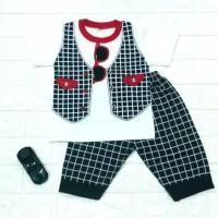 Setelan baju anak laki-laki usia 6-24 bulan motif Rompi Kacamata